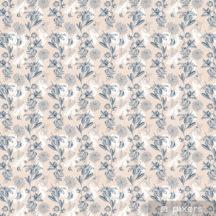 retro flower vector illustration Self-adhesive custom-made wallpaper - Plants and Flowers