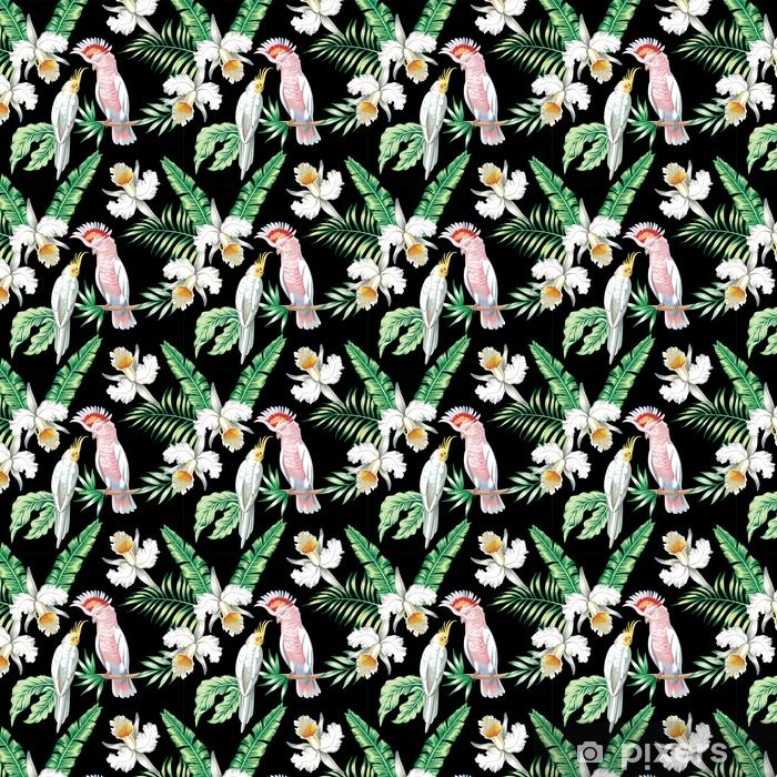 Papugi egzotyczne kwiatowy bezszwowe tło