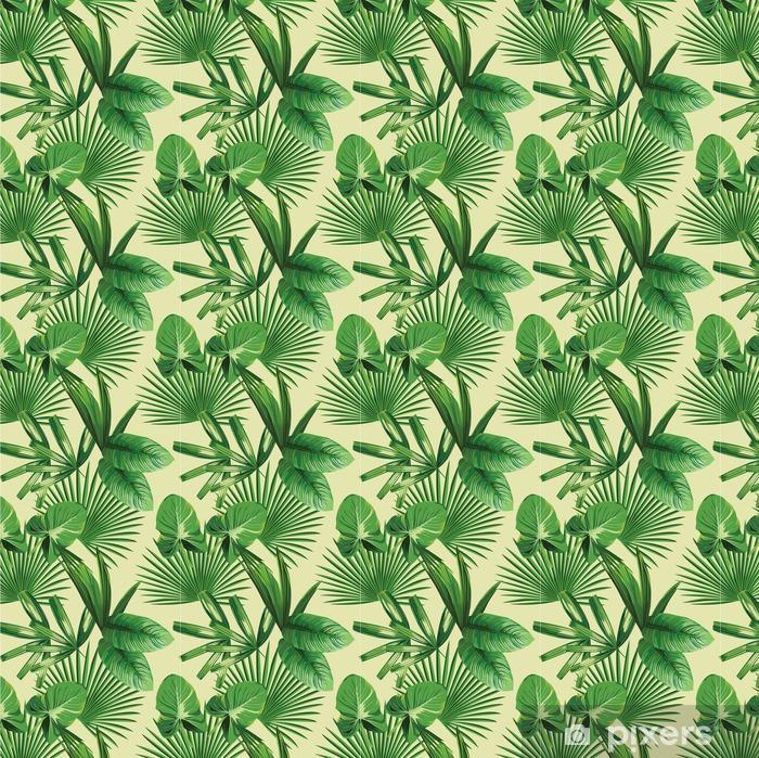 Vinylová tapeta na míru Tropické palmové listy bezproblémové pozadí - Rostliny a květiny