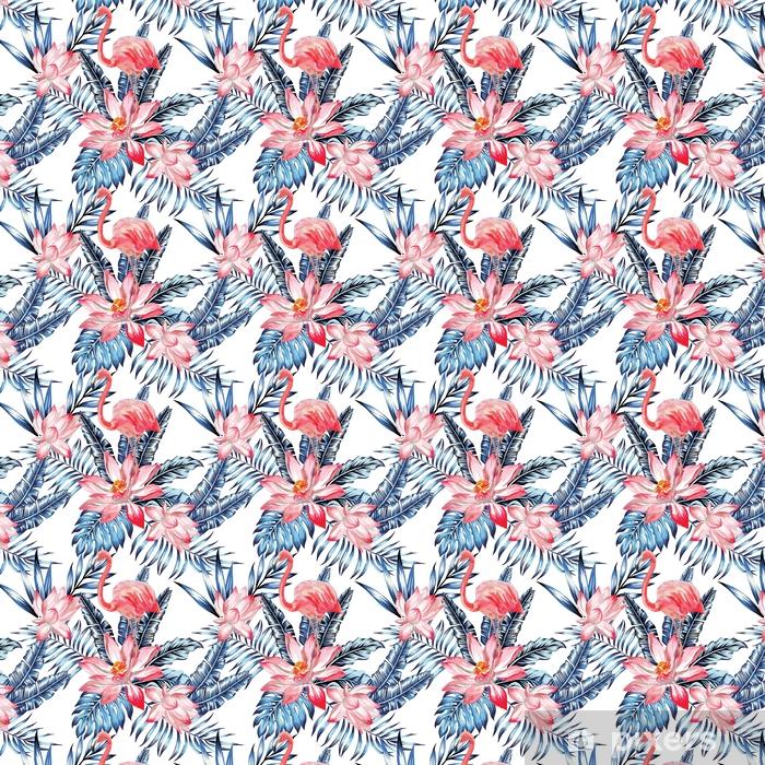 Vinyl behang, op maat gemaakt Roze flamingo en blauw palmbladenpatroon - Dieren
