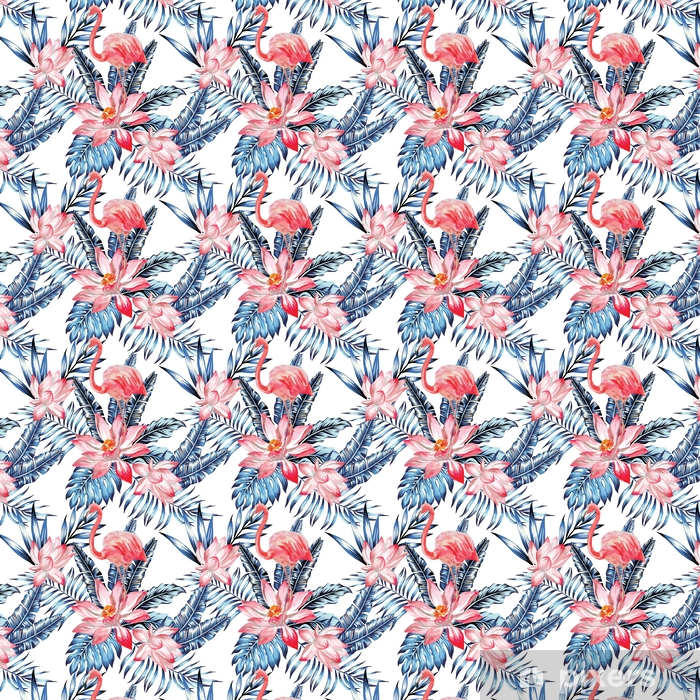 Papel de parede em vinil à sua medida Padrão de flamingo rosa e folhas de palmeiras azuis - Animais