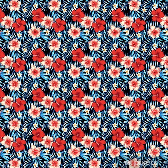 Tapeta na wymiar winylowa Hibiskus i palmy pozostawia bezszwowe tło - Rośliny i kwiaty
