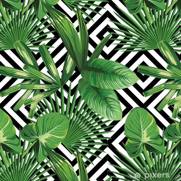 Tropical Palm Leaves Pattern Geometric Background Wallpaper Beauteous Tropical Leaves Pattern