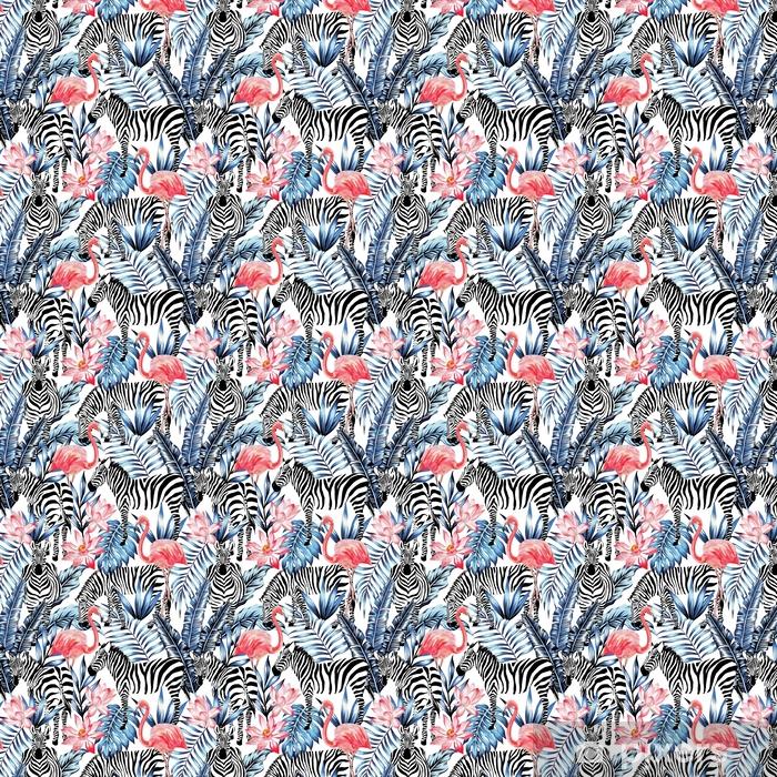 Zelfklevend behang, op maat gemaakt Aquarel flamingo, zebra en palm verlaat tropische patroon - Dieren