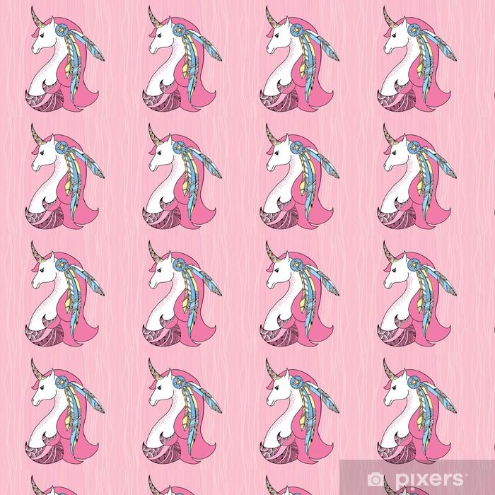 Papier peint vinyle sur mesure Mythological Unicorn avec des plumes sur le fond rose. - Animaux imaginaires