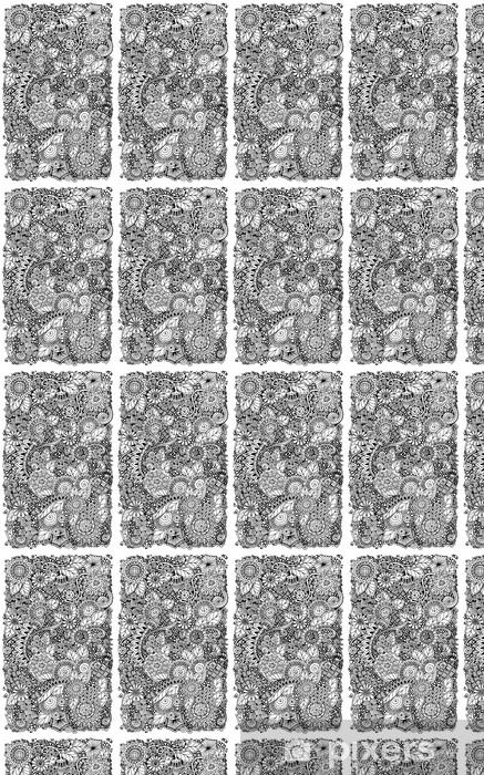 Ethnic floral retro zentangle doodle background pattern circle Vinyl Custom-made Wallpaper - Flowers