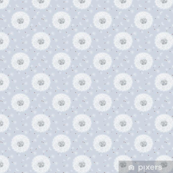 Papier peint vinyle sur mesure Seamless gris avec des fleurs pissenlits - Plantes et fleurs