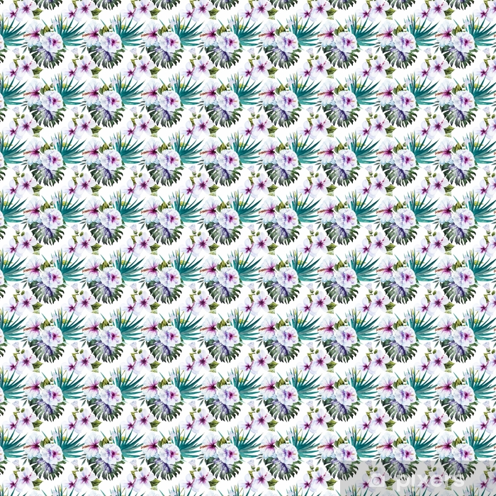 Tapeta na wymiar winylowa Wzory akwareli hibiskusa - Rośliny i kwiaty