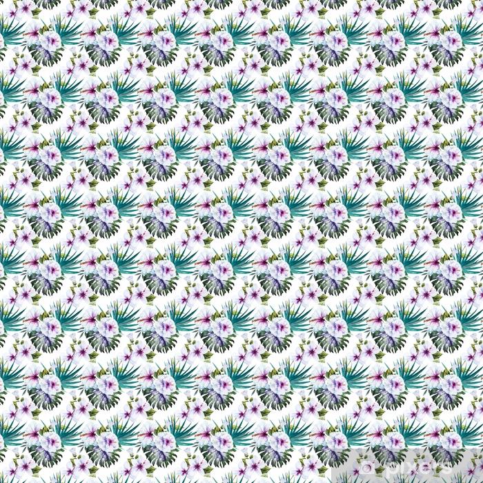 Zelfklevend behang, op maat gemaakt Aquarel hibiscus patronen - Bloemen en Planten