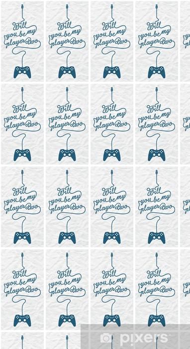Papier peint vinyle sur mesure Gamepad avec câble sous la forme d'un message texte sur papier texturé Fond - Jeux