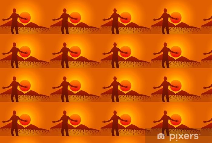 Silhouette dans le désert Vinyl custom-made wallpaper - Outdoor Sports