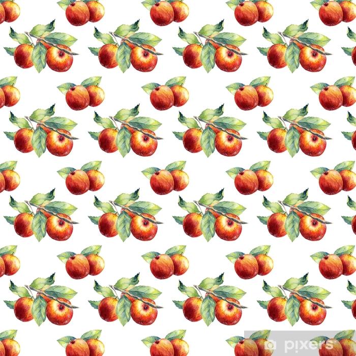 A seamless apple branch pattern on white background. Vinyl custom-made wallpaper - Food