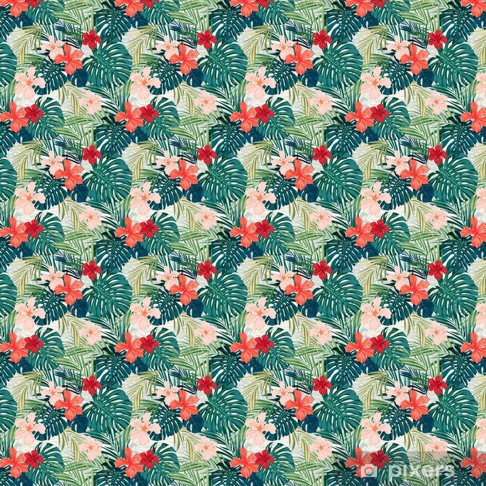 Vinyl behang, op maat gemaakt Heldere kleurrijke tropische naadloze achtergrond met bladeren en - Bloemen en Planten