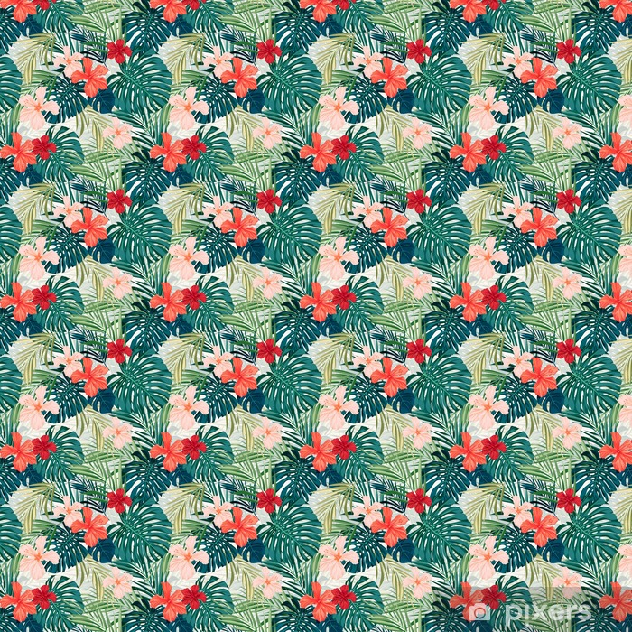 Papel pintado estándar a medida Fondo transparente de colores tropicales brillantes con hojas y - Plantas y flores