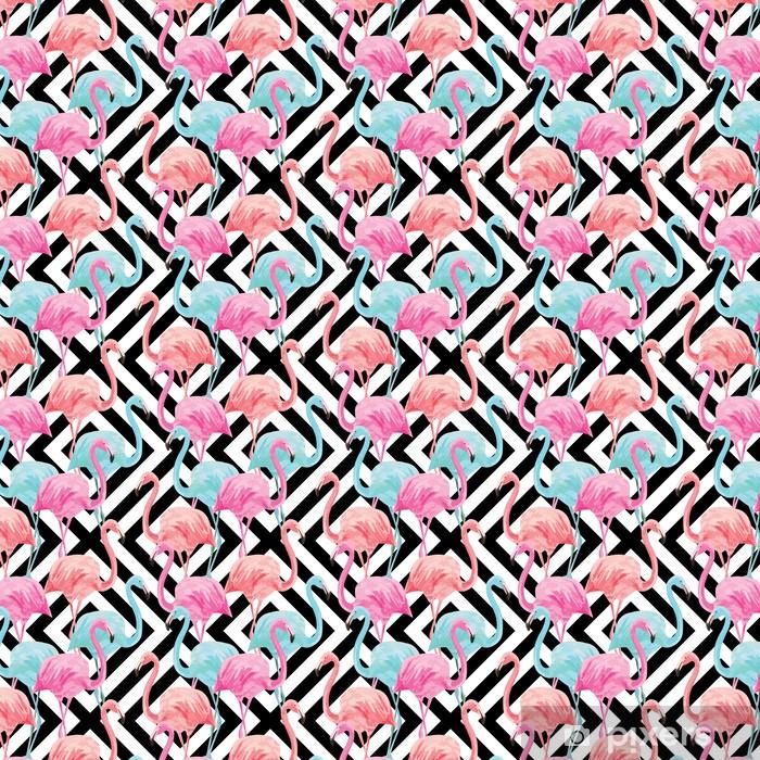 Tapeta na wymiar winylowa flamingo watercolor pattern, geometric background - Ptaki
