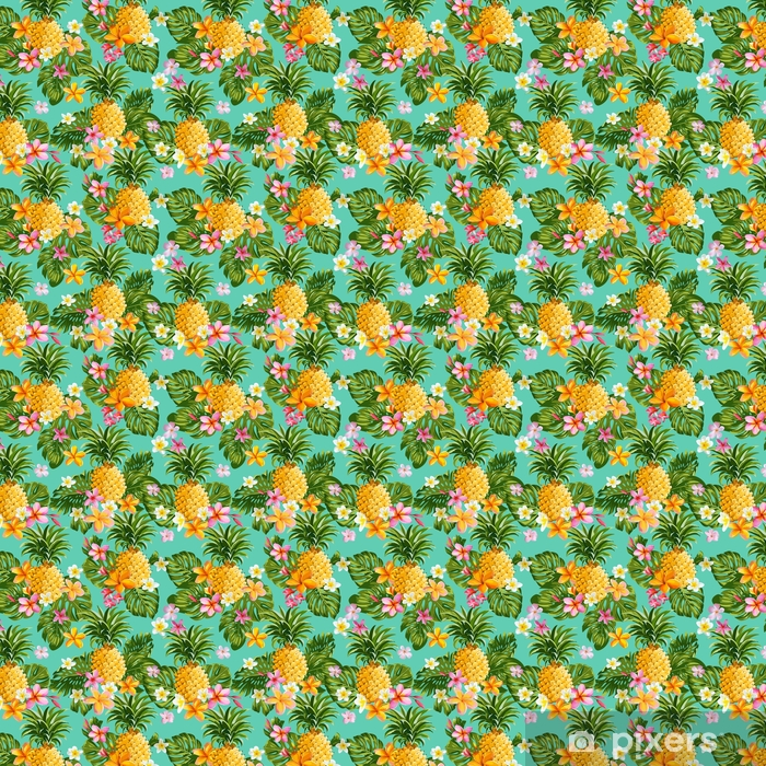 Pinapples and Tropical Flowers Background -Vintage Seamless Pattern Vinyl custom-made wallpaper - Plants and Flowers