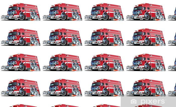 Vector Cartoon Fire Truck Wallpaper Vinyl Custom Made