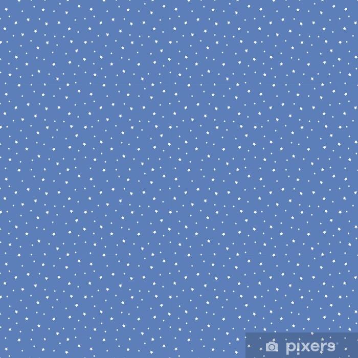 Vinyltapete nach Maß Nahtlose Muster mit den Sternen auf blauem Hintergrund. Nachthimmel Natur Illustration. Cute Baby Dusche Hintergrund. - Landschaften