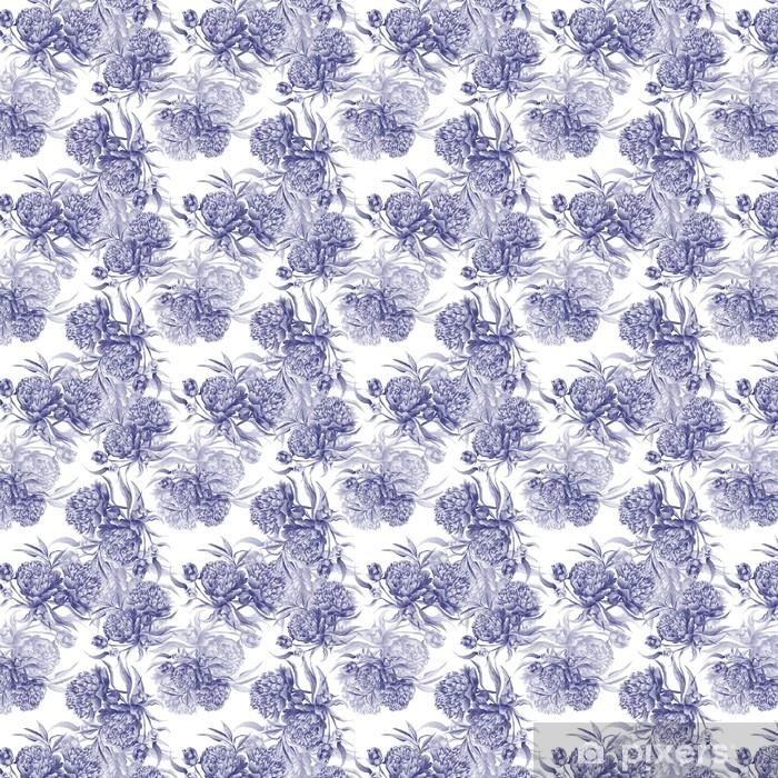 Papier peint vinyle sur mesure Grisaille Aquarelle pivoine Texture - Plantes et fleurs