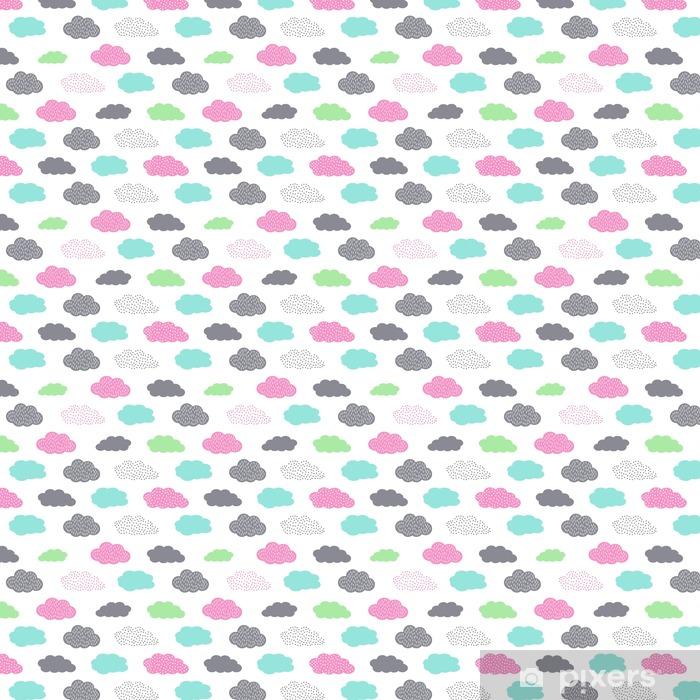 Papel de parede em vinil à sua medida Teste padrão sem emenda colorido com nuvens para festas de crianças. Fundo do vetor do chá de bebê bonito. Ilustração criança estilo de desenho. - Paisagens