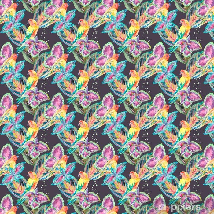 papier peint motifs aquarelle perroquets tropical. Black Bedroom Furniture Sets. Home Design Ideas
