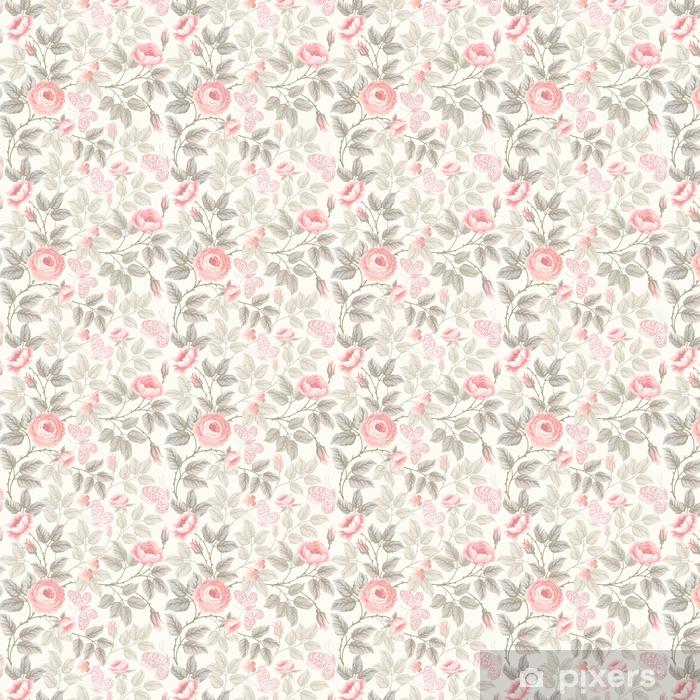 Papel pintado estándar a medida Patrón floral transparente con rosas y mariposas - Plantas y flores
