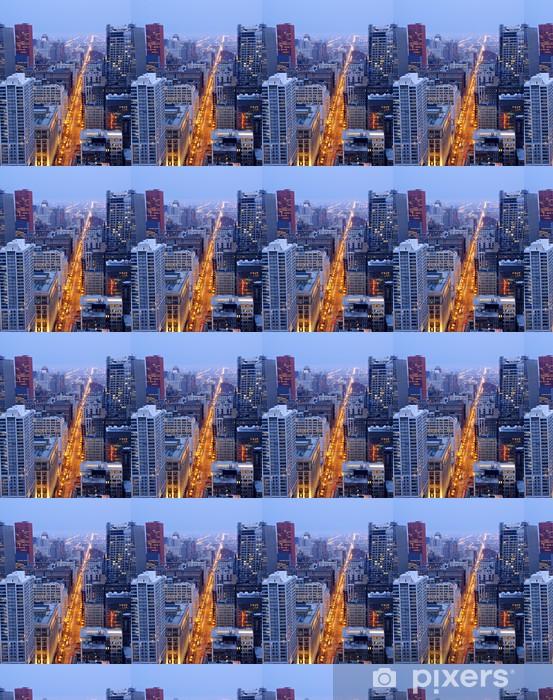 Papier peint vinyle sur mesure State Street au centre-ville de Chicago la nuit - Amérique