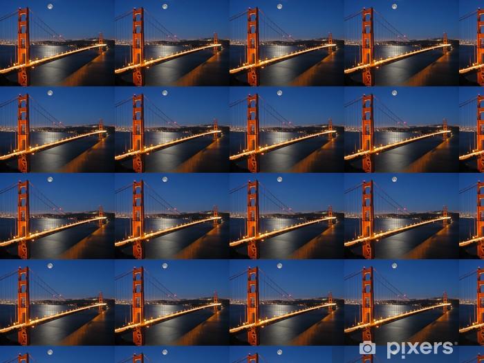 Papier peint vinyle sur mesure Golden gate bridge avec lumière lune - Thèmes