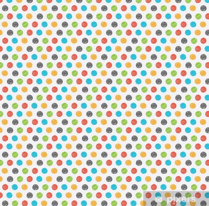 Zelfklevend behang, op maat gemaakt Polka dot doodle naadloos patroon - Achtergrond