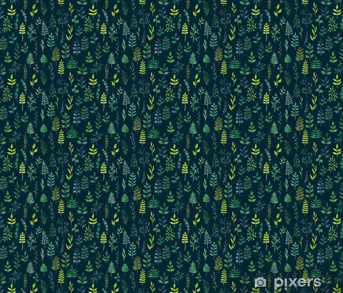 Vektor grøn akvarel blomster sømløse mønster. Personlige selvklæbende tapet - Grafiske Ressourcer