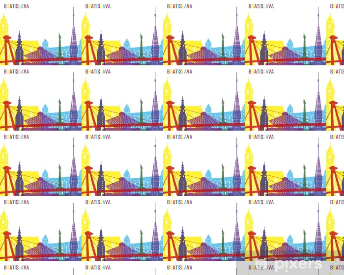 Papier peint vinyle sur mesure Bratislava skyline pop - Paysages urbains