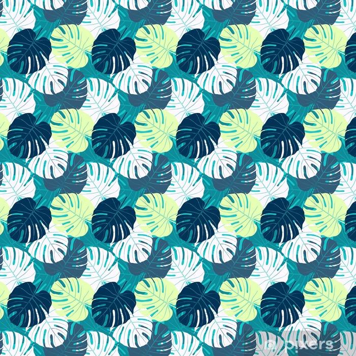 Vinyl behang, op maat gemaakt Naadloos patroon met palmbladeren - Bloemen en Planten