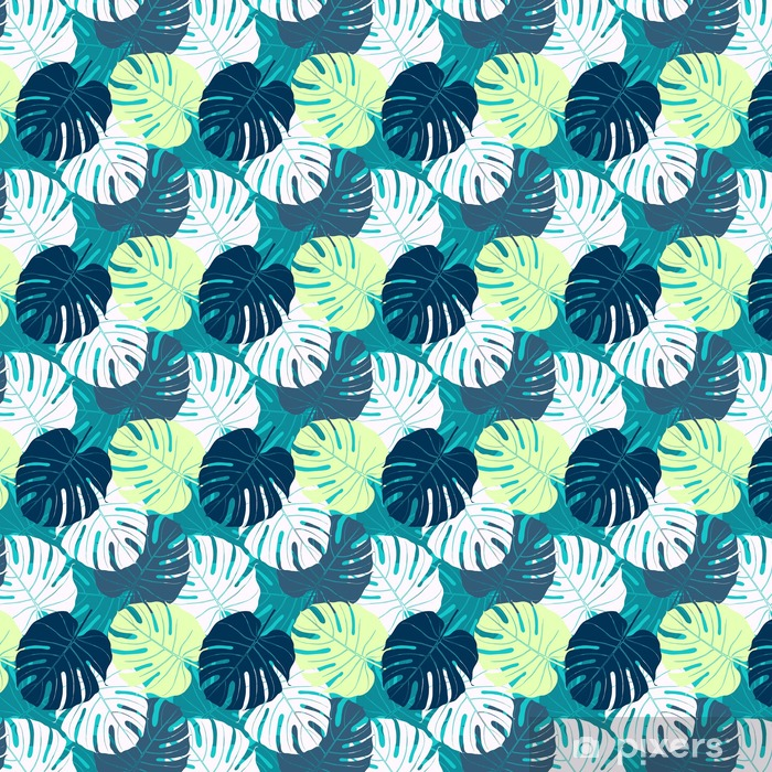 Seamless pattern with palm leaves. Vinyl custom-made wallpaper - Plants and Flowers
