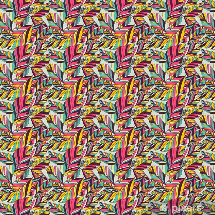 Vinyl behang, op maat gemaakt Vector naadloze patroon met multicolor hand getrokken decoratieve le - Herfst