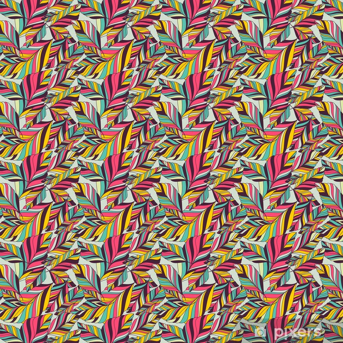 Vinyltapete nach Maß Vektor nahtlose Muster mit Multicolor Hand gezeichnet dekorative le - Herbst