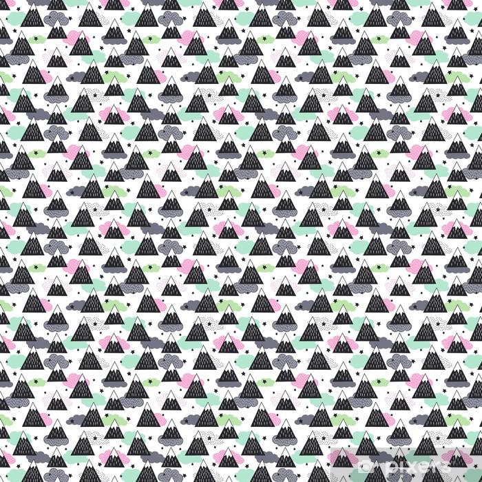 Carta da parati in vinile su misura Reticolo senza giunte con geometriche montagne innevate, nuvole e stelle. Illustrazione grafica natura. Astratto sfondo di montagne. - Panorami