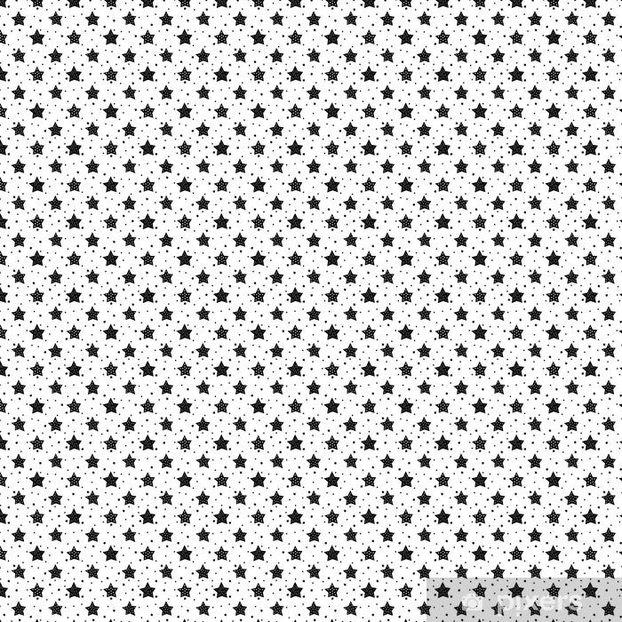 Tapete Nahtlose Schwarz Weiß Muster Mit Niedlichen Sterne Für Kinder
