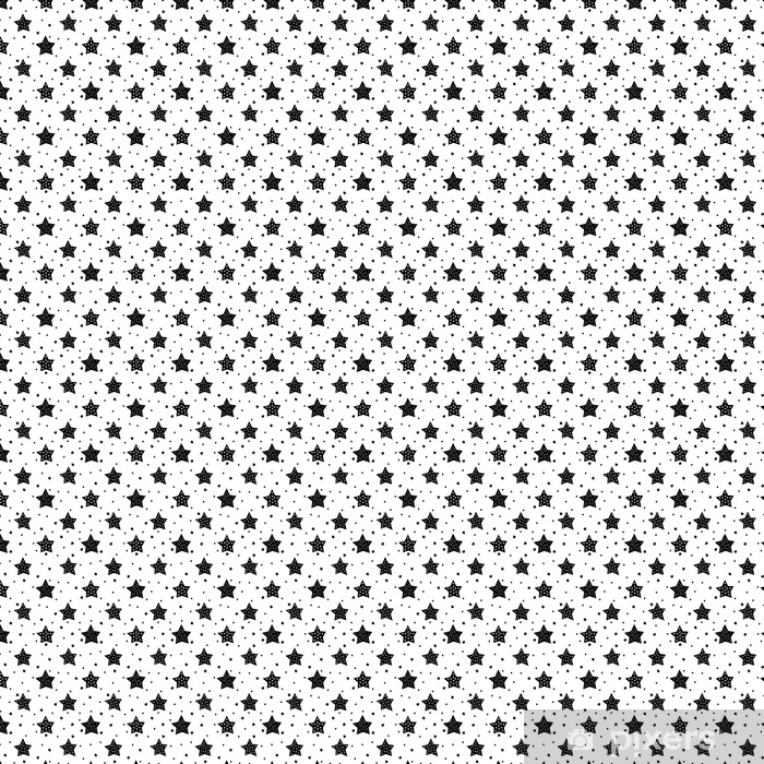 Seamless black and white pattern with cute stars for kids. Baby shower vector background. Child drawing style xmas pattern. Vinyl custom-made wallpaper - Landscapes