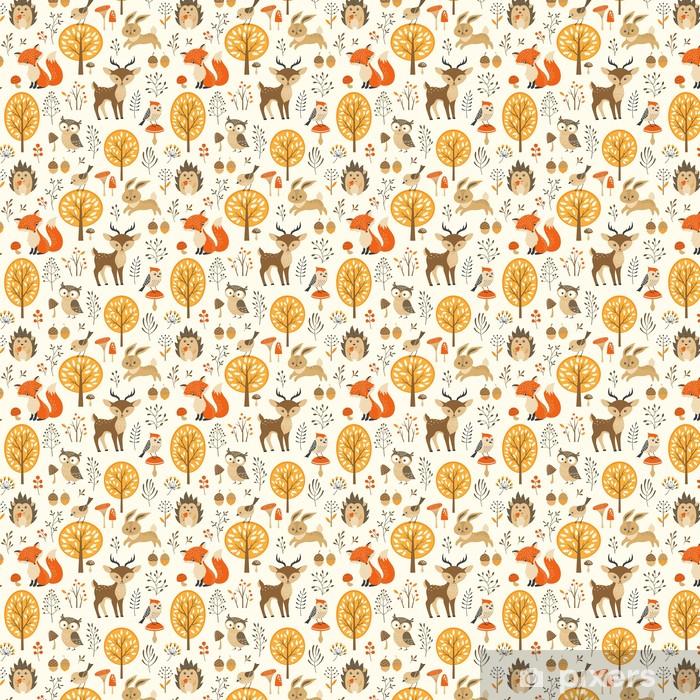 Vinyl behang, op maat gemaakt Herfst bos naadloze patroon met schattige dieren - Kinderkamer