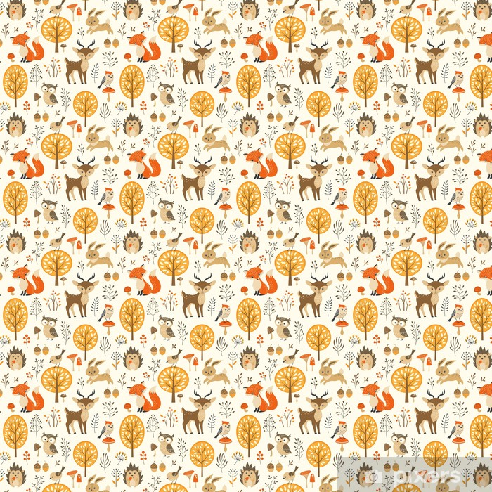 Autumn forest seamless pattern with cute animals Vinyl custom-made wallpaper - Kids room