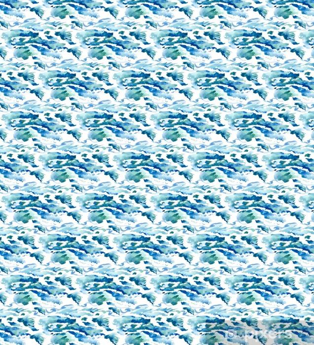Zelfklevend behang, op maat gemaakt Aquarel naadloze golven achtergrond - Grafische Bronnen