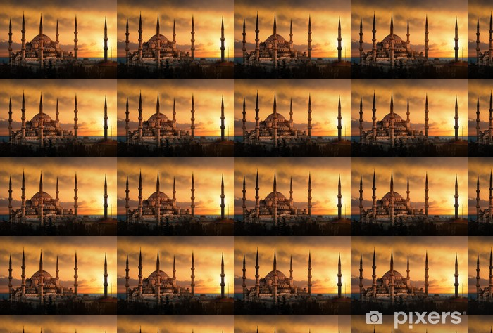 The Blue Mosque in Istanbul during sunset Vinyl custom-made wallpaper - iStaging