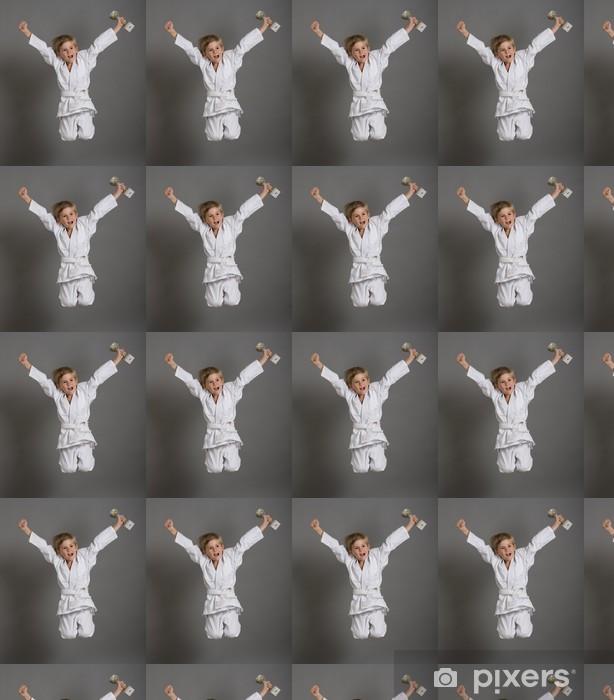 Papier peint vinyle sur mesure Judo enfant kimono gagner victoire sport champion saut - Sports individuels
