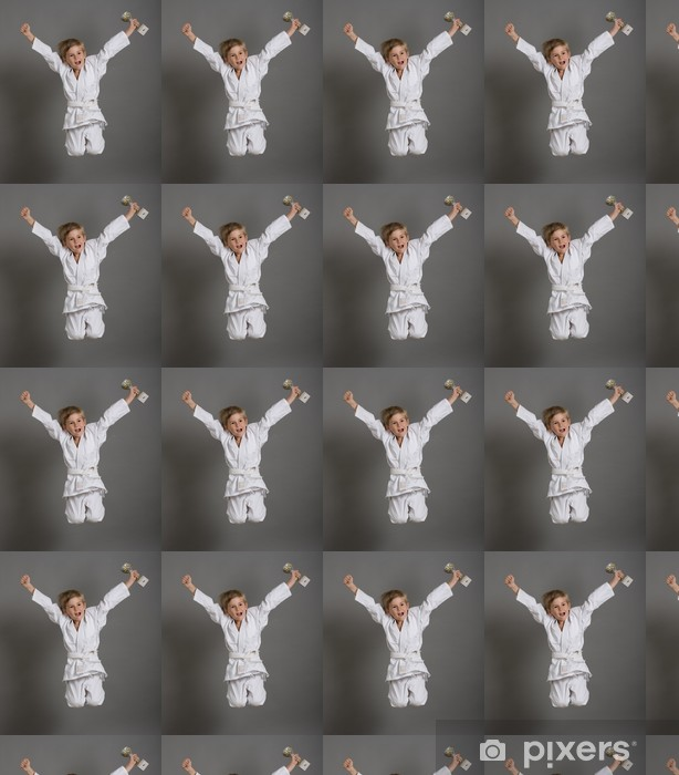 judo enfant kimono gagner victoire sport champion saut Vinyl custom-made wallpaper - Individual Sports