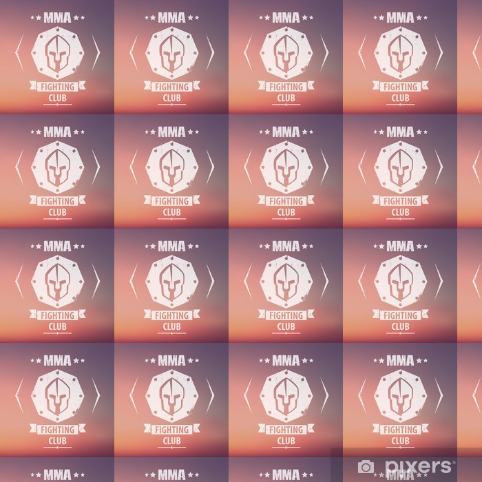 Papier peint vinyle sur mesure MMA Fighting emblème grunge Club, logo, avec un casque spartiate, illustration vectorielle, eps10, facile à modifier - Signes et symboles