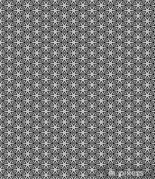 Vektor moderne sømløs hellig geometri mønster, sort og hvid abstrakt geometrisk blomst af livs baggrund, tapet print, monokrom retro tekstur, hipster mode design Personlige vinyltapet - Grafiske Ressourcer