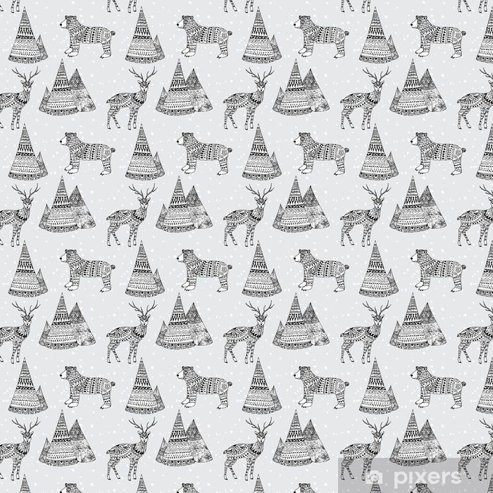 Bear Deer And Mountain Hand Drawn Winter Pattern Wallpaper Pixers