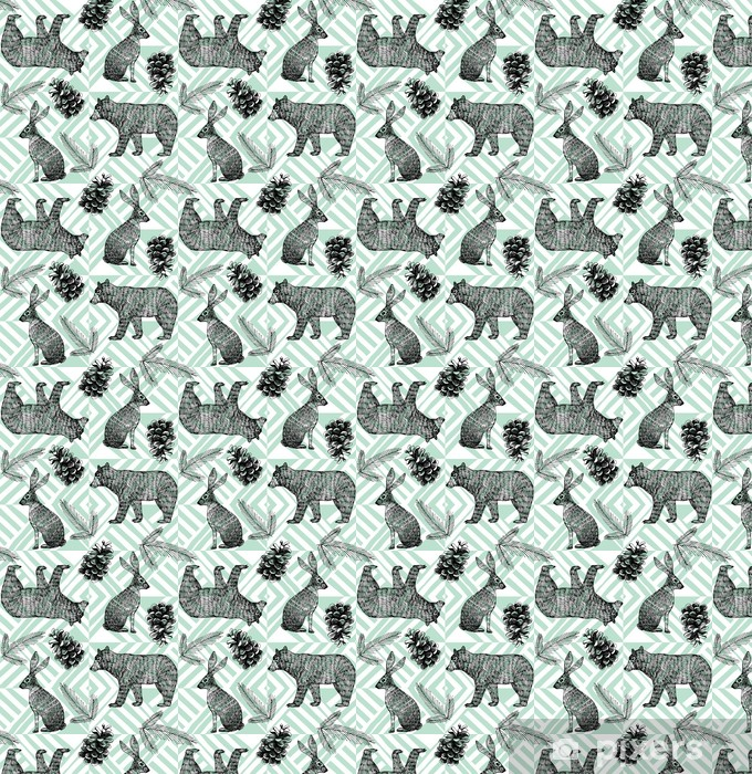 hand drawn winter trendy pattern, geometric background Vinyl custom-made wallpaper - Animals