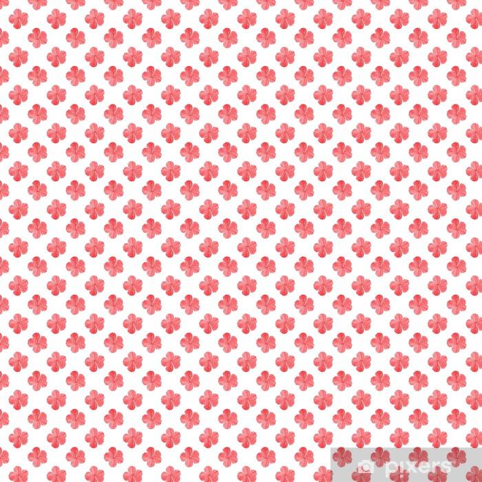 Papel pintado estándar a medida Hibisco. Patrón sin fisuras con las flores. fondo dibujado a mano - Plantas y flores