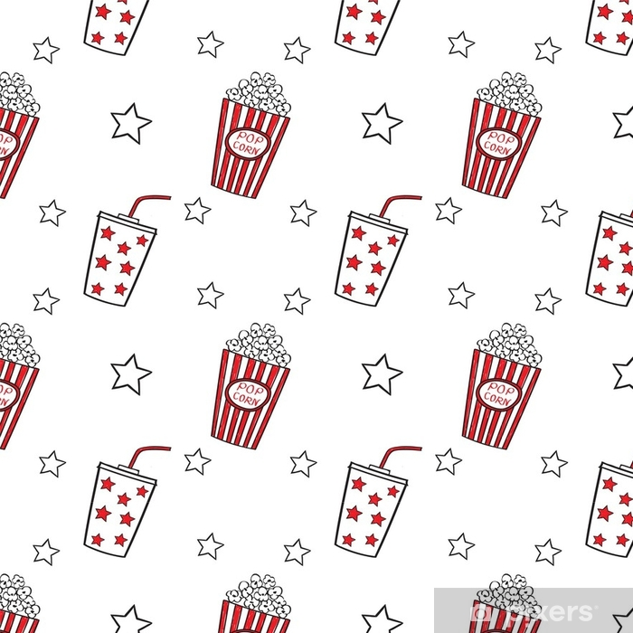 Vinylová Tapeta Popcorn a pít doodle vektor, bezešvé. - Koníčky a volný čas